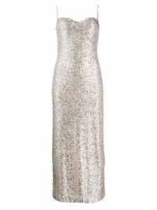 Galvan sequin fitted slip dress - Neutrals
