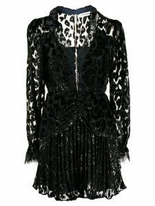 Self-Portrait pleated mini dress - Black