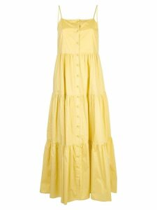 Sea buttoned flared dress - Yellow