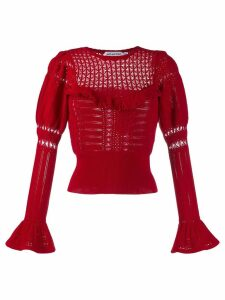 Self-Portrait knitted lace top - Red