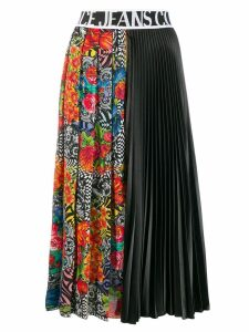 Versace Jeans Couture printed pleated midi skirt - Black