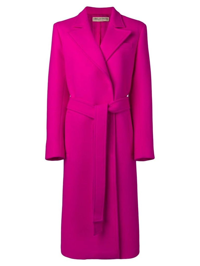 Emilio Pucci Double Face Wool Long Coat - Pink