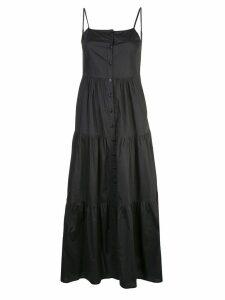 Sea buttoned flared dress - Black