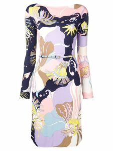 Emilio Pucci Mirabilis Print Belted Dress - Purple