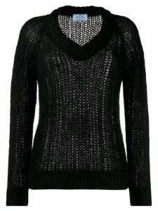 Prada chunky knit v-neck jumper - Black