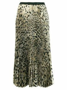 Prada pleated leopard print skirt - Neutrals