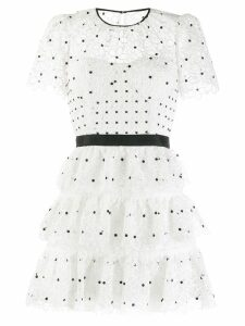Self-Portrait tiered polka-dot dress - White