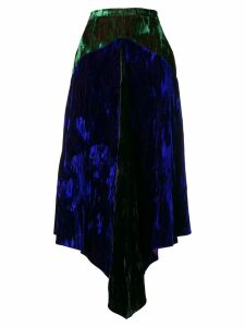 Christopher Kane two-tone velvet skirt - Blue