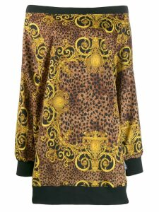 Versace Jeans Couture leopard baroque print dress - Neutrals