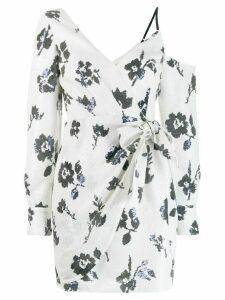 Self-Portrait asymmetric floral mini dress - Neutrals