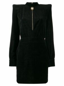 Balmain high neck velvet dress - Black