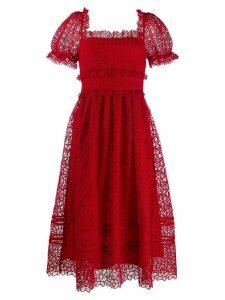 Self-Portrait puff sleeve midi dress - Red