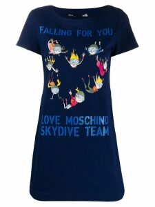 Love Moschino Skydiving print T-shirt dress - Blue