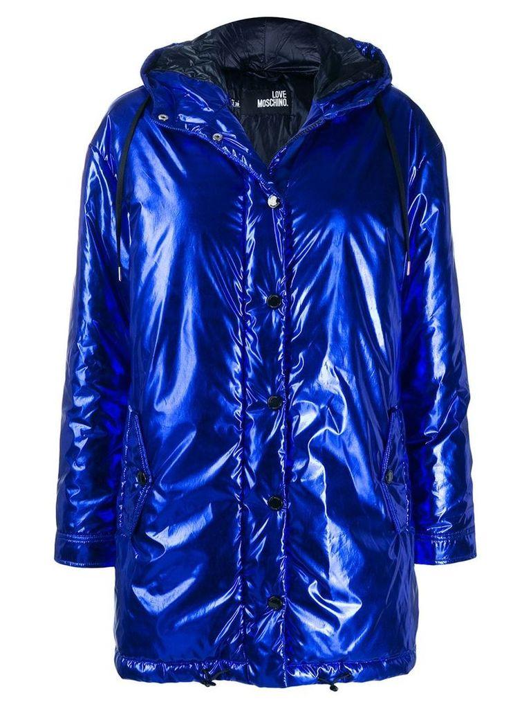 Love Moschino laminated canvas raincoat - Blue