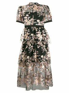 Self-Portrait floral sequin embellished dress - Black
