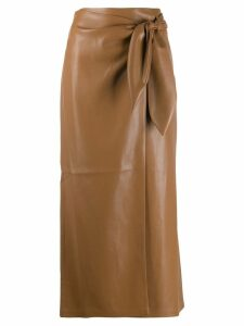 Nanushka wrap side-tie skirt - Brown