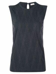 Brunello Cucinelli argyle knitted top - Grey