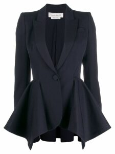 Alexander McQueen draped single-buttoned blazer - Blue