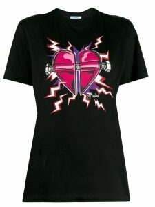 Prada heart printed T-shirt - Black