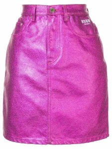 MSGM metallic denim skirt - PURPLE
