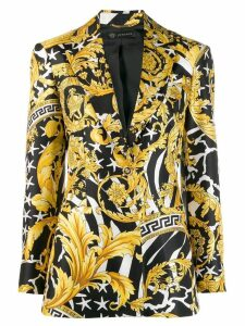 Versace baroque print blazer - Black