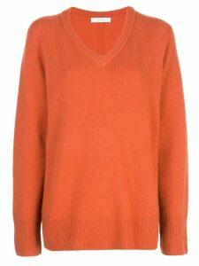 The Row fine knit V-neck sweater - Orange