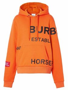 Burberry Horseferry Print Cotton Oversized Hoodie - Orange