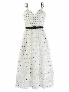 Self-Portrait polka-dot midi dress - White