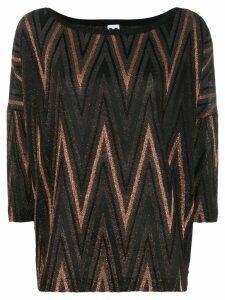 M Missoni Zigzag metallic knit top - Black