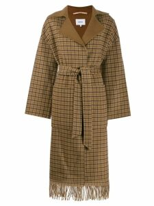 Nanushka check fringed coat - Brown