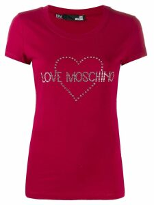 Love Moschino embellished logo T-shirt - Red
