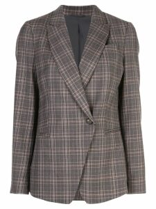 Brunello Cucinelli check wrap blazer - Brown