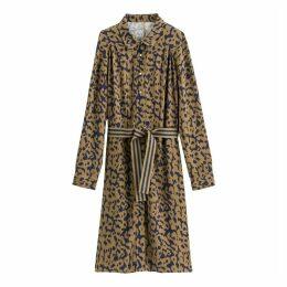 Leopard Print Shirt Dress with Belt