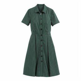 Striped Midi Short-Sleeved Shirt Dress