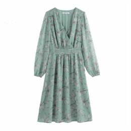 Floral Print Wrapover Midi Dress