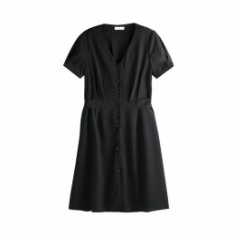 Button-Through Mid-Length Dress with Tie-Waist