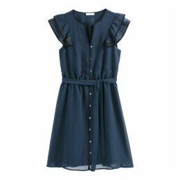 Ruffled Button-Through Dress with Tie-Waist