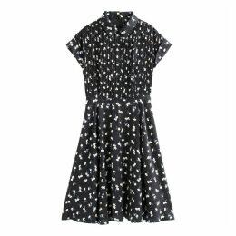 Floral Print Pleated Midi Shirt Dress