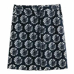 Daisy Print Short A-Line Skirt