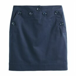 Buttoned Cotton Pencil Skirt