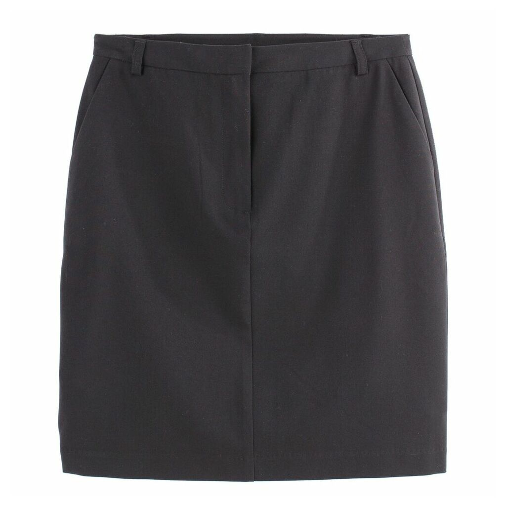Straight Stretch Pencil Skirt with Pockets