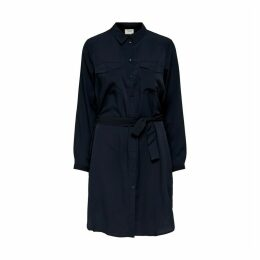 Tie-Waist Shirt Dress with Long Sleeves