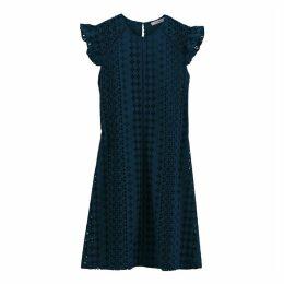 Ruffled Cotton Dress with English Ebroidery