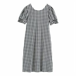 Cotton Gingham Print Puff-Sleeve Dress with Tie-Back