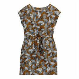 Linen Mix Floral Print Tie-Waist Shift Dress