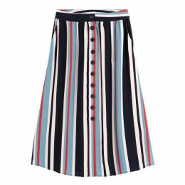 Striped Buttoned Midi Skirt