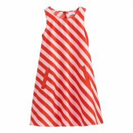 Striped Swing Cotton Dress with Tie-Back