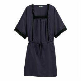 Tie-Waist Lace Trim Dress