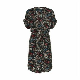 Floral Print Shift Dress with Tie-Waist