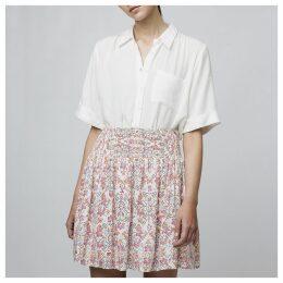 Short Full Floral Skirt with Smocked Waist